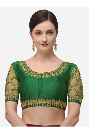 Amrutam Fab Women Green & Gold-Coloured Embroidered Saree Blouse