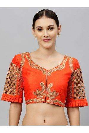 Amrutam Fab Women Orange & Gold-Coloured Zari Embroidered Phantom Silk Readymade Saree Blouse