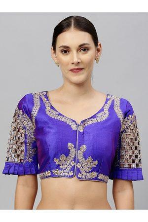 Amrutam Fab Women Blue & Gold-Coloured Embroidered Phantom Silk Saree Blouse