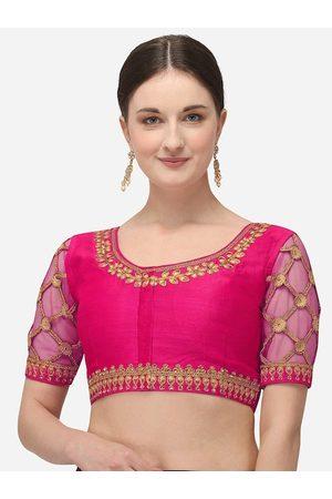 Amrutam Fab Women Ethnic Blouses - Women Pink Embroidered Raw Silk Saree Blouse