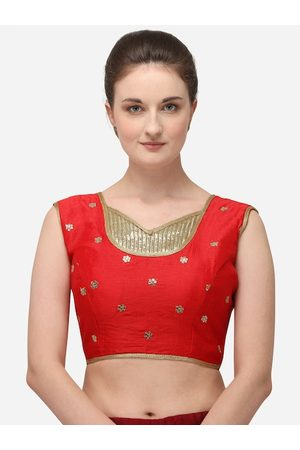 Amrutam Fab Women Red & Gold-Coloured Sequence Embroidered Raw Silk Saree Blouse