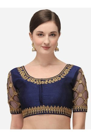 Amrutam Fab Women Navy Blue & Gold-Coloured Embroidered Raw Silk Saree Blouse