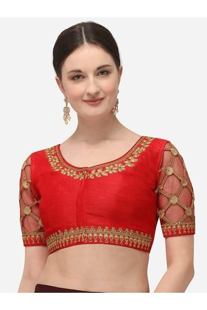Amrutam Fab Women Ethnic Blouses - Women Red & Beige Embroidered Raw Silk Saree Blouse