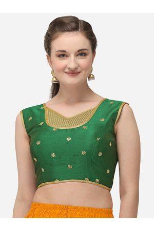Amrutam Fab Women Green & Gold-Coloured Embroidered Phantom Silk Saree Blouse