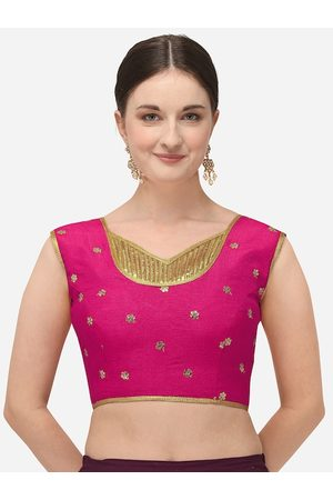 Amrutam Fab Women Pink & Gold-Coloured Embroidered Raw Silk Saree Blouse