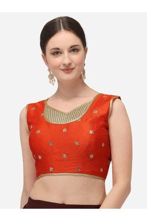 Amrutam Fab Women Orange & Gold-Coloured Sequinned Embroidered Raw Silk Saree Blouse