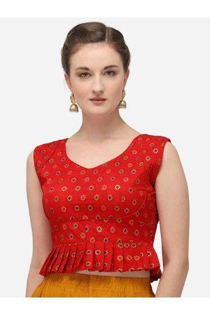 Amrutam Fab Women Ethnic Blouses - Women Red & Gold-Coloured Woven Design Jacquard Saree Blouse