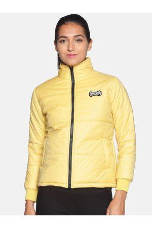 Campus Women Yellow Windcheater Outdoor Puffer Jacket