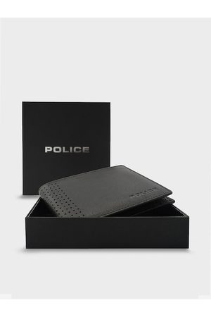Police Men Black Solid Leather Two Fold Wallet