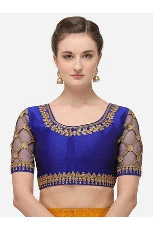 Amrutam Fab Women Blue & Gold-Coloured Embroidered Raw Silk Saree Blouse
