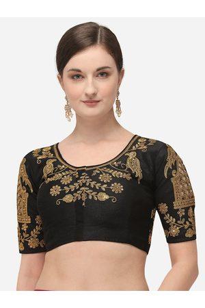 Amrutam Fab Women Ethnic Blouses - Women Black & Gold-Coloured Embroidered Phantom Silk Saree Blouse