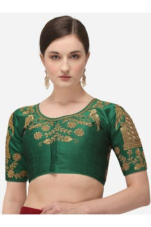 Amrutam Fab Women Ethnic Blouses - Women Green & Gold-Coloured Embroidered Raw Silk Saree Blouse