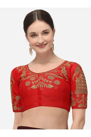 Amrutam Fab Women Red & Gold-Coloured Embroidered Beige Phantom Silk Saree Blouse
