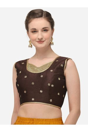 Amrutam Fab Women Brown & Gold-Coloured Sequinned Embroidered Raw Silk Saree Blouse