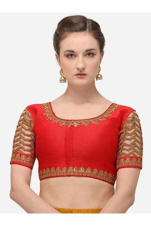 Amrutam Fab Women Ethnic Blouses - Women Red & Gold-Coloured Embroidered Raw Silk Saree Blouse