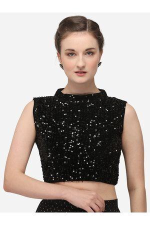 Amrutam Fab Women Black Embellished Velvet Saree Blouse