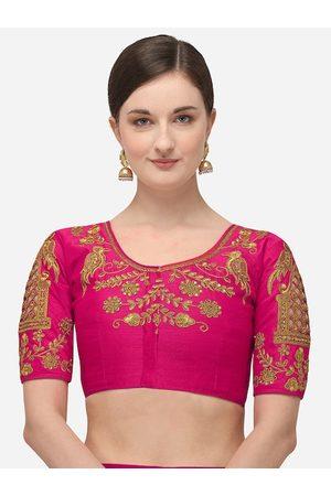 Amrutam Fab Women Magenta Pink & Gold-Coloured Embroidered Phantom Silk Saree Blouse
