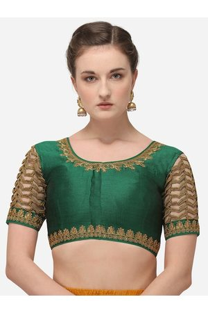 Amrutam Fab Women Ethnic Blouses - Women Green & Gold-Coloured Embroidered Phantom Silk Saree Blouse