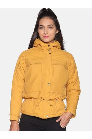 Campus Women Yellow Solid Windcheater Parka Jacket