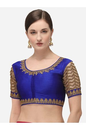 Amrutam Fab Women Blue & Beige Embroidered Raw Silk Saree Blouse