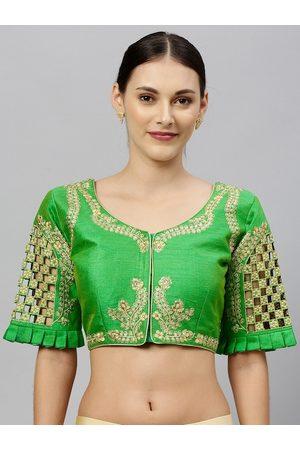 Amrutam Fab Women Green & Gold-Coloured Zari Embroidered Phantom Silk Saree Blouse