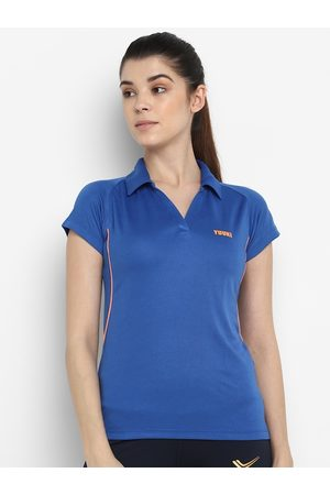 Yuuki Women Blue Polo Collar Extended Sleeves Slim Fit T-shirt