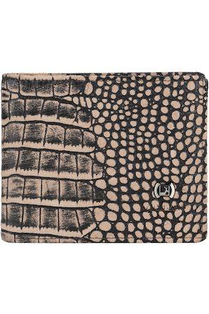 Da Milano Men Brown Animal Textured Leather Two Fold Wallet