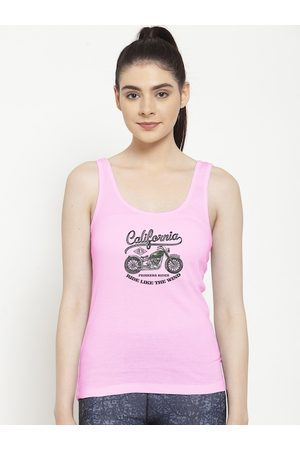 Friskers Women Pink Graphic Printed Tank Top