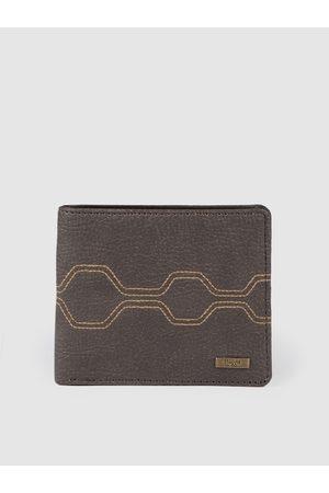Baggit Men Brown Geometric Printed Two Fold Wallet
