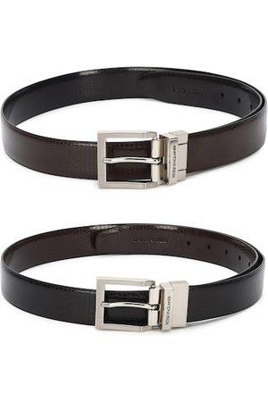 Peter England Men Black Textured PU Reversible Formal Belt
