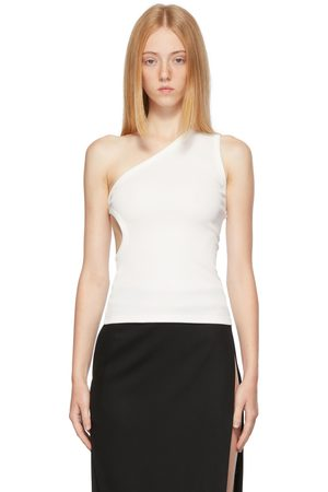 Women Tank Tops - Christopher Esber White One Shoulder Cut-Out Tank Top