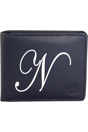 Blacksmith Men Navy Blue & White Typography Printed PU Two Fold Wallet with SD Card Holder