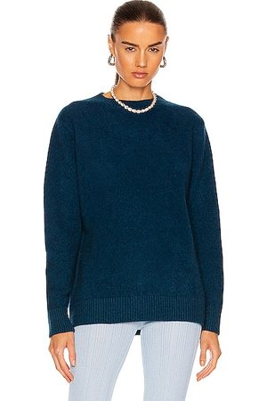 THE ELDER STATESMAN Cashmere Simple Crew Sweater in Peacock