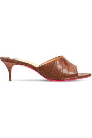 Christian Louboutin Women Flats - 55mm East Croc Embossed Leather Mules