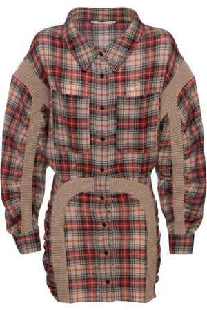 Stella McCartney Women Knitted Dresses - Wool Checked Mini Dress W/ Knit Details