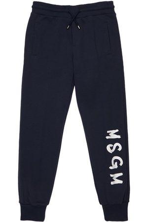 Msgm Girls Sports Trousers - Logo Print Cotton Sweatpants
