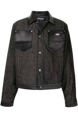 SANKUANZ Men Leather Jackets - Leather-trimmed denim jacket