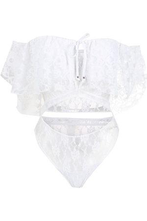 AMIR SLAMA Lace short sleeves bodysuit