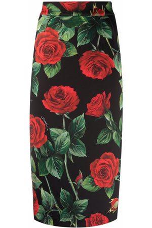 Dolce & Gabbana Women Printed Skirts - Rose-print high-waisted pencil skirt