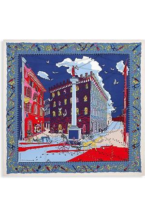Salvatore Ferragamo Palazzo-Print Silk Square Scarf