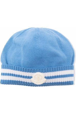 Moncler Beanies - Ribbed-trim logo-patch beanie