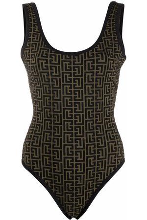 Balmain Women Bodies - Monogram jacquard open-back bodysuit