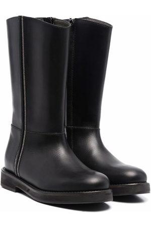 Brunello Cucinelli Girls High Leg Boots - Chain-link detail tall boots