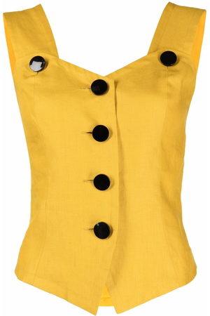 Yves Saint Laurent Women Tank Tops - 1990s sleeveless linen top