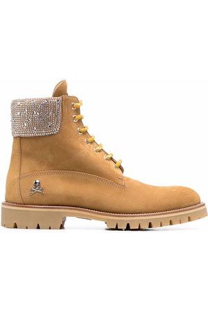 Philipp Plein Nabuk lace-up leather boots