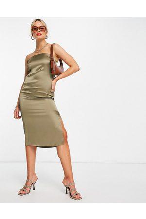 River Island Satin bodycon sleeveless midi dress in khaki