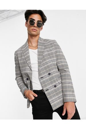 New Look Slim double breasted suit jacket in check