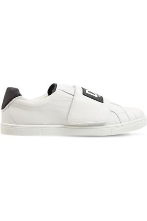 Dolce & Gabbana Leather Slip-on Sneakers W/ Logo Band