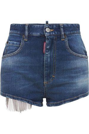 Dsquared2 High Waist Hot Shorts W/ Mesh Detail