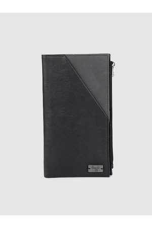 Baggit Men Black & Grey Animal Textured Colourblocked Two Fold Wallet